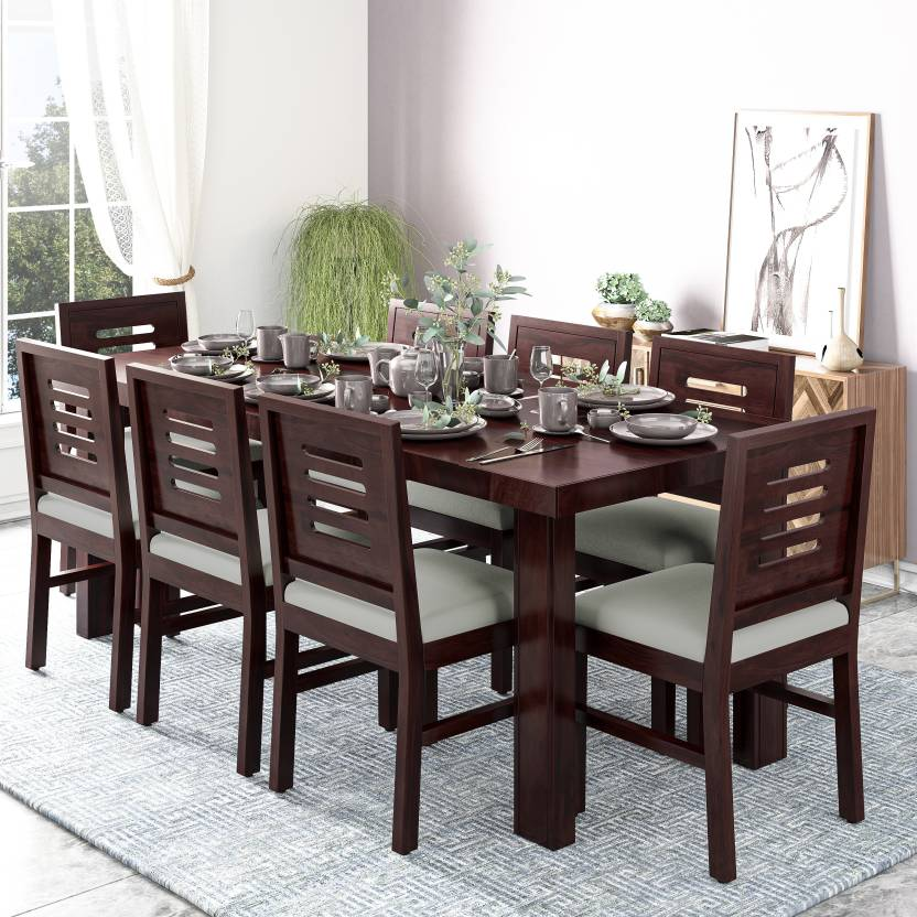 Chairs Solid Wood 8 Seater Dining Set, Wooden Dining Room Table And 8 Chairs