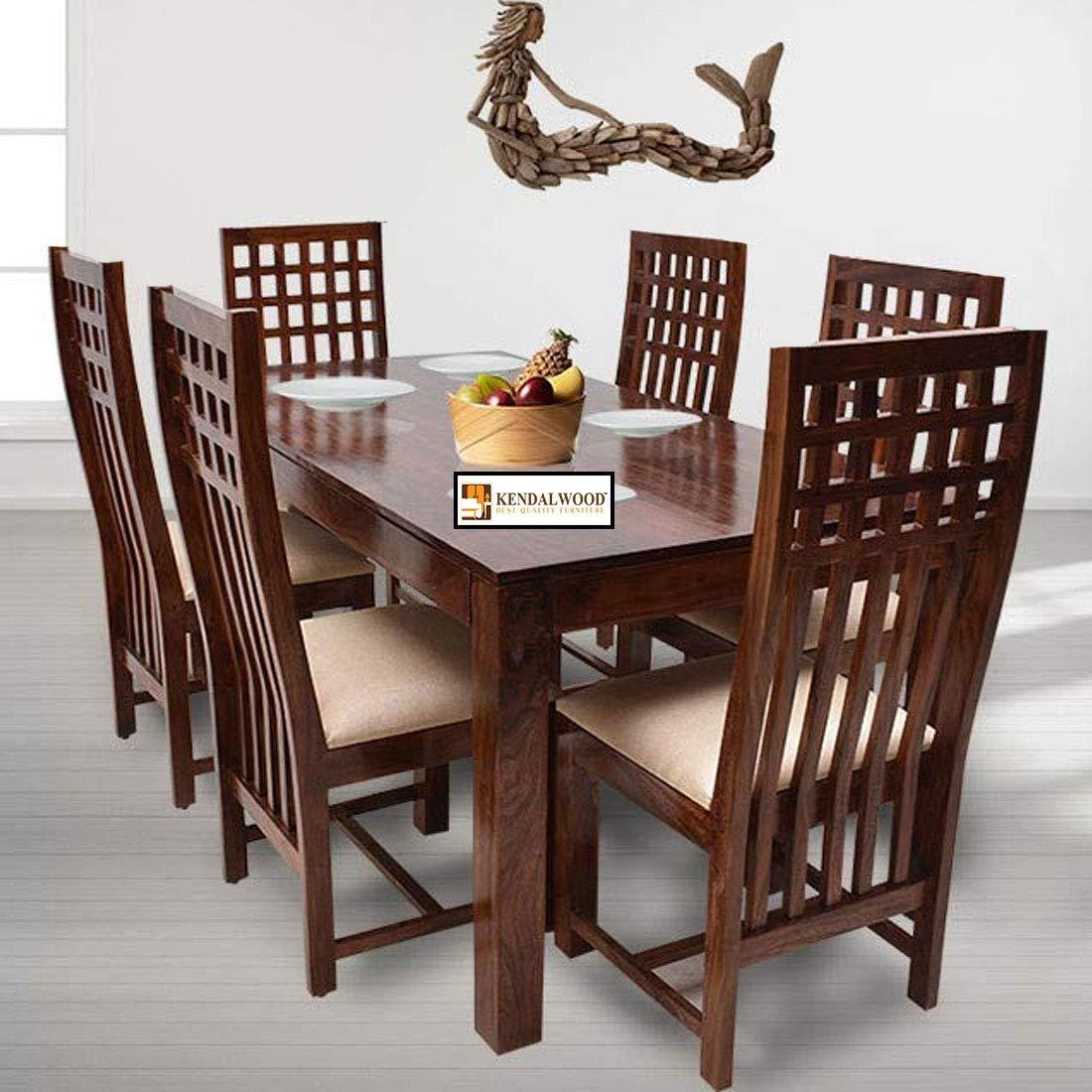 Kendalwood Furniture Sheesham Wood Dining Table9 X 9 with 9 Chairs    Wooden Dining Table with Chair   Dining Room Furniture  Natural Teak  Finish ...